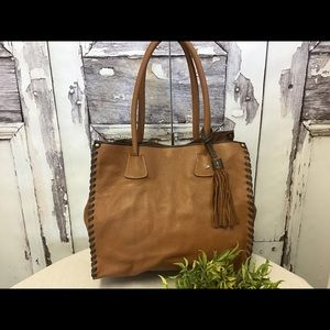 Garnet Hill Italy Brown Leather Tote Bag